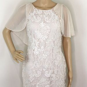 Marina Lace Cape Fitted Dress